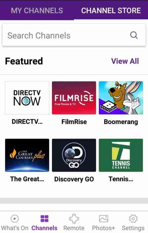 Search channels on app