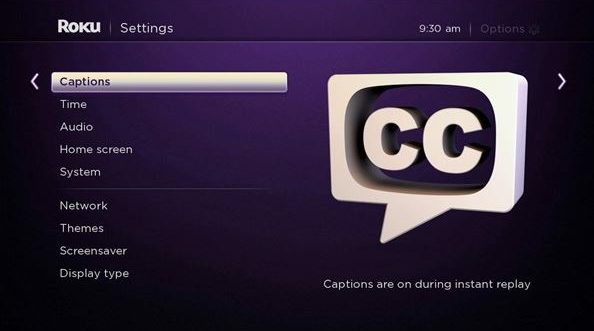 Roku closed caption